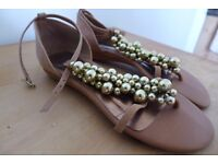 DUNE T-Bar, Leather Sandals with Gold Baubles. Size 6 (Europe 39). Clean and near perfect. Worn once