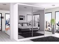 BRAND NEW FULL MIRROR BERLIN SLIDING DOOR WARDROBE - BLACK-WHITE-WENGE-WALNUT