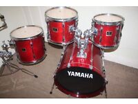 "Vintage Yamaha Stage Custom Cranberry Red 4 Piece Drum Kit (20"" Bass) - DRUMS ONLY"