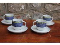 Set of 4 Italian Tognana Coffee Cups & Saucers Porcelain