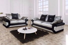 BLACK AND SILVER = BRAND NEW DINO CRUSHED VELVET CORNER SOFA AVAILABLE CORNER AND 3+2 SUITE