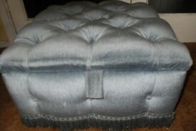 Lovely Blue Velour Pouffe with Storage Space - £40