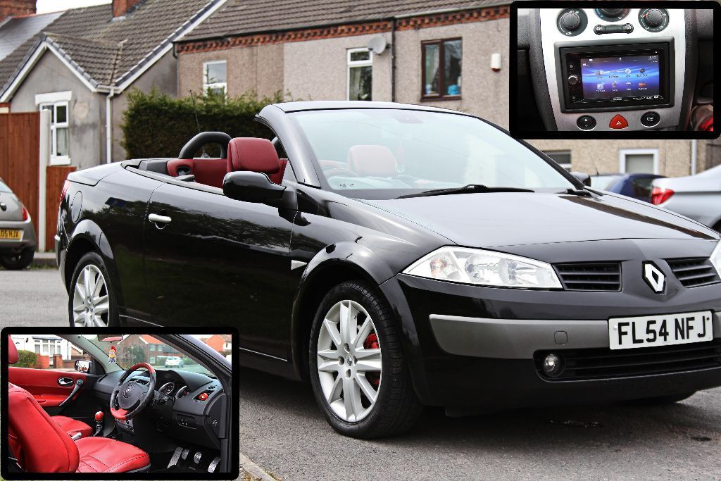2004 renault megane cc 1 9 diesel convertible dynamique dci120 black red leather dvd player in. Black Bedroom Furniture Sets. Home Design Ideas