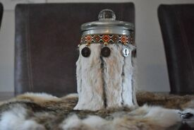 New handmade decorated glas jar with lid.