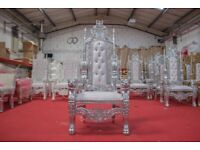 2 x New Silver King Lion Throne Chair Wedding Events Luxury Ornate Carved Furniture Italian Throne