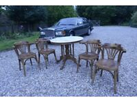 Real genuine marble dining dinner kitchen table with four 4 chairs set real wood