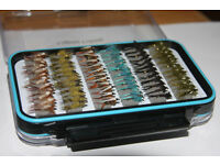 Fishing Flies 60 Assorted Nymphs Plus A FREE Clearview Waterproof Fly Box