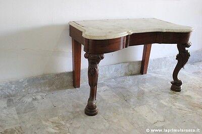 ANTICA CONSOLLE INGLESE IN MOGANO CON PIANO IN MARMO - LAVABO EPOCA 800 H 66 cm