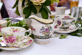 Complete vintage wedding tea party for 46+ (crockery, cutlery & all decorations)