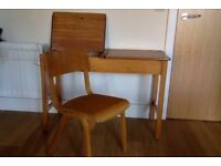 School wooden double desk and two chairs