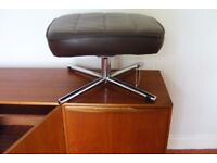 Mid Century G Plan style leather and chrome footstool