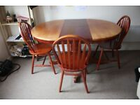 Extendable Solid Wood Dining Table with Three Chairs (Pick-up Only)