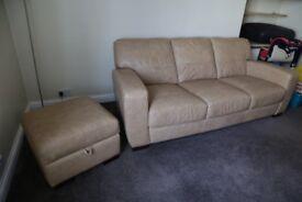DFS 3 seater sofa with storage pouffie
