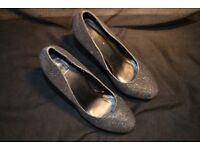 Navy Blue Glittery High Heels