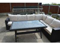Rattan corner sofa and table