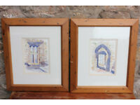 2 Original Watercolours Framed Irish Artist - Timoleague Friary in Co. Cork, Ireland Medieval Abbey
