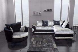 ❤Superb Quality❤Best Buy❤ Brand New Double Padded Dino Diamond Crushed Velvet Corner Sofa Or 3+2Sofa