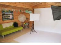 Pair of soft boxes with tripod and lights