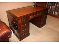 Vintage Captains Desk with leather inlay and 8 drawers - really stunning desk!