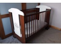 BABY COT WOODEN + MOTHERCARE MATTRESS. LOVELY AND IN PRISTINE CONDITION