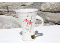 Louis Mulchay Irish Studio Pottery Cup Handmade Dingle Ireland Red Flower Art Mug