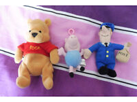 selection of cuddly toys postman pat, winnie the pooh, george (peppa pig)