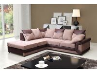 EXPRESS DELIVERY= BLACK OR BROWN New Dino Jumbo cord fabric Corner or 2+3 Seater Sofa -Get It TOday-