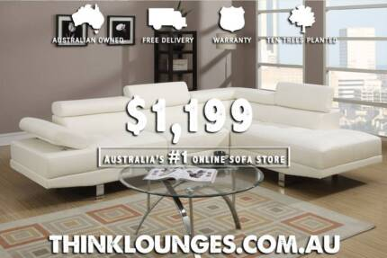 Leather Lounge Sofa with Chaise in Black Brown White - Designer Melbourne CBD Melbourne City Preview