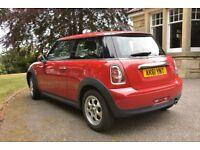 Red Mini Cooper, 1.6 Petrol, 61 plate-registered Dec 2011, low mileage