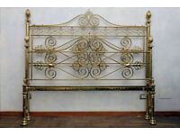 19th century Charles X brass double bed