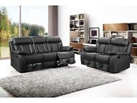 Vancouver 3 2 Seater Leather Recliner Sofa With Cupholder Black Brand New
