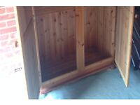 Solid pine double wardrobe - ideal to shabby chic!