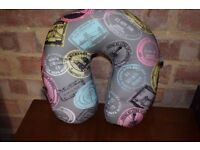 Travel Grey and Pink Micro Pearl Neck Pillow