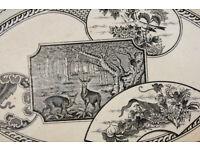 Beautiful Victorian Serving Dish Deer and Flowers J Dimmock Diamond Mark 1880 19th Century Display