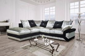 == STYLISH CORNER SOFA == DINO CRUSHED VELVET CORNER SOFA OR 3 AND 2 SOFA
