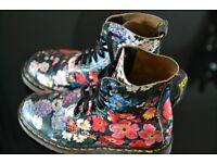 Original Ladies Dr Martin Boots Size 4 Floral Design Excellent condition Hardly Worn £35.00