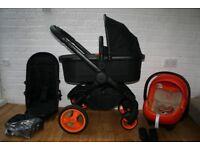 iCandy Peach DC Black / orange pram pushchair travel system 3 in 1 CAN POST