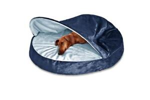 """NEW Fur Haven 95329295 Round Snuggery Burrow Pet Bed, Navy, 26"""""""
