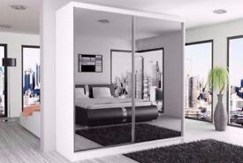 HIGH QUALITY MASSIVE Sliding Door Wardrobe BOSTON Mirrored Detail Doors 120 150 180 203 CM