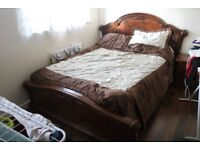 Double bed with wardrope etc