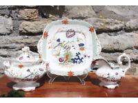 Stunning and Rare mid 19th Century Tea Set Indian Bird Pattern Antique Victorian Vintage Cake Plate