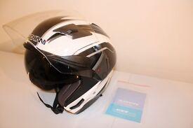 Duchinni Motorcycle Open Face Helmet with Internal Sun Visor