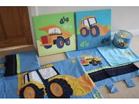 Next Bedding, Curtains, Lamp shade, and Picture set - Digger Theme