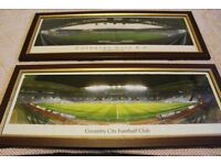 TWO COVENTRY CITY FC FRAMED PICTURES OF HIGHFIELD ROAD AND THE RICOH ARENA