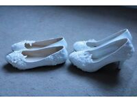 2xWEDDING SHOES|NEW|UK SIZE 6/EU39|HEELS 3,15 inch/8cm+BALLERINAS|SAME STYLE&SIZE|BOHO|LACED|PEARLS|