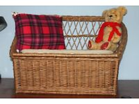 Childs basket seat with storage space