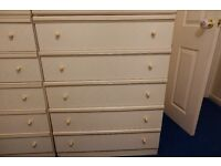 2 x set of 6 bedroom draws with glass tops in cream