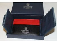 Authentic Ettinger London Leather Card Wallet Holder Black/Red BNWB - £75 ovno