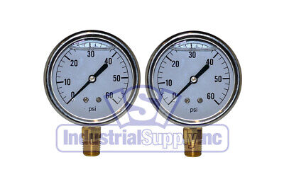 Liquid Filled Pressure Gauge 0-60 Psi 2-12 Face 14 Lm Single Scale