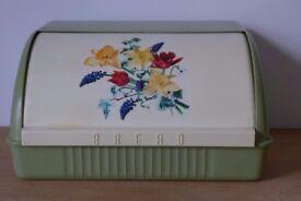 Kitchenalia / film / TV prop: 1940s/50s VINTAGE PLASTIC Roll-Top Bread Bin / Box. With flower motif.